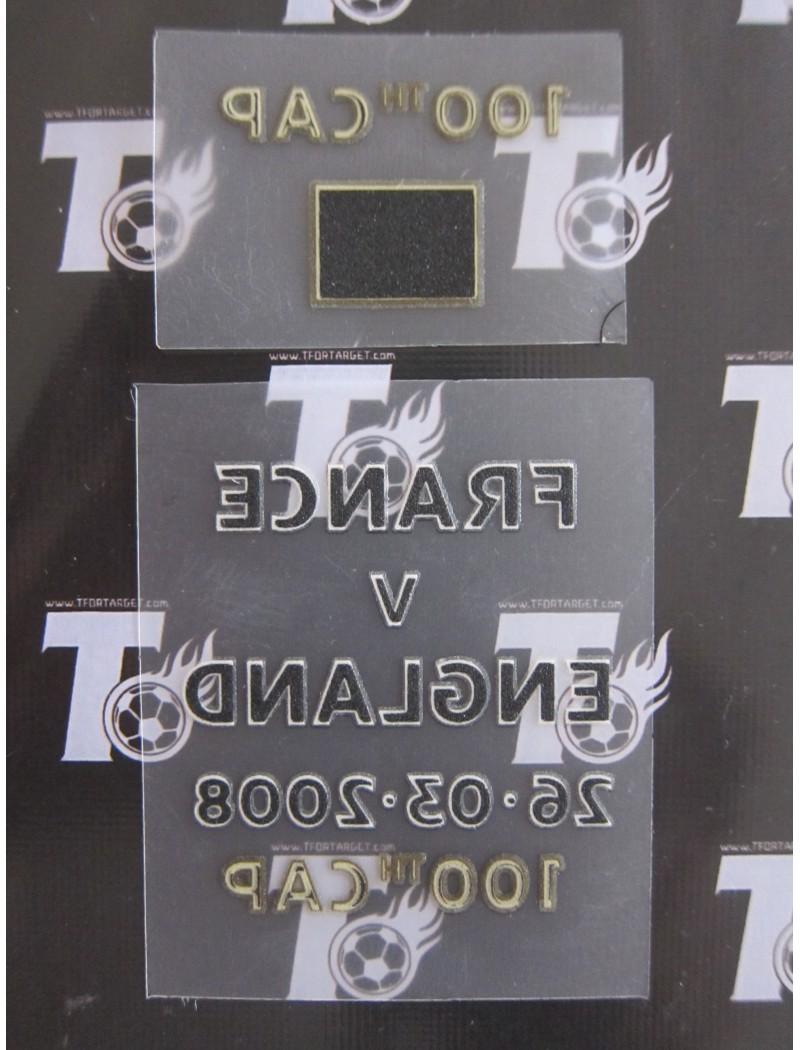 2008 Friendly Match - England vs France Match Detail + BECKHAM 100 Caps Badges Set (England use)